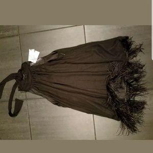 Black Chiffon Feather Blouse Halter Neckline